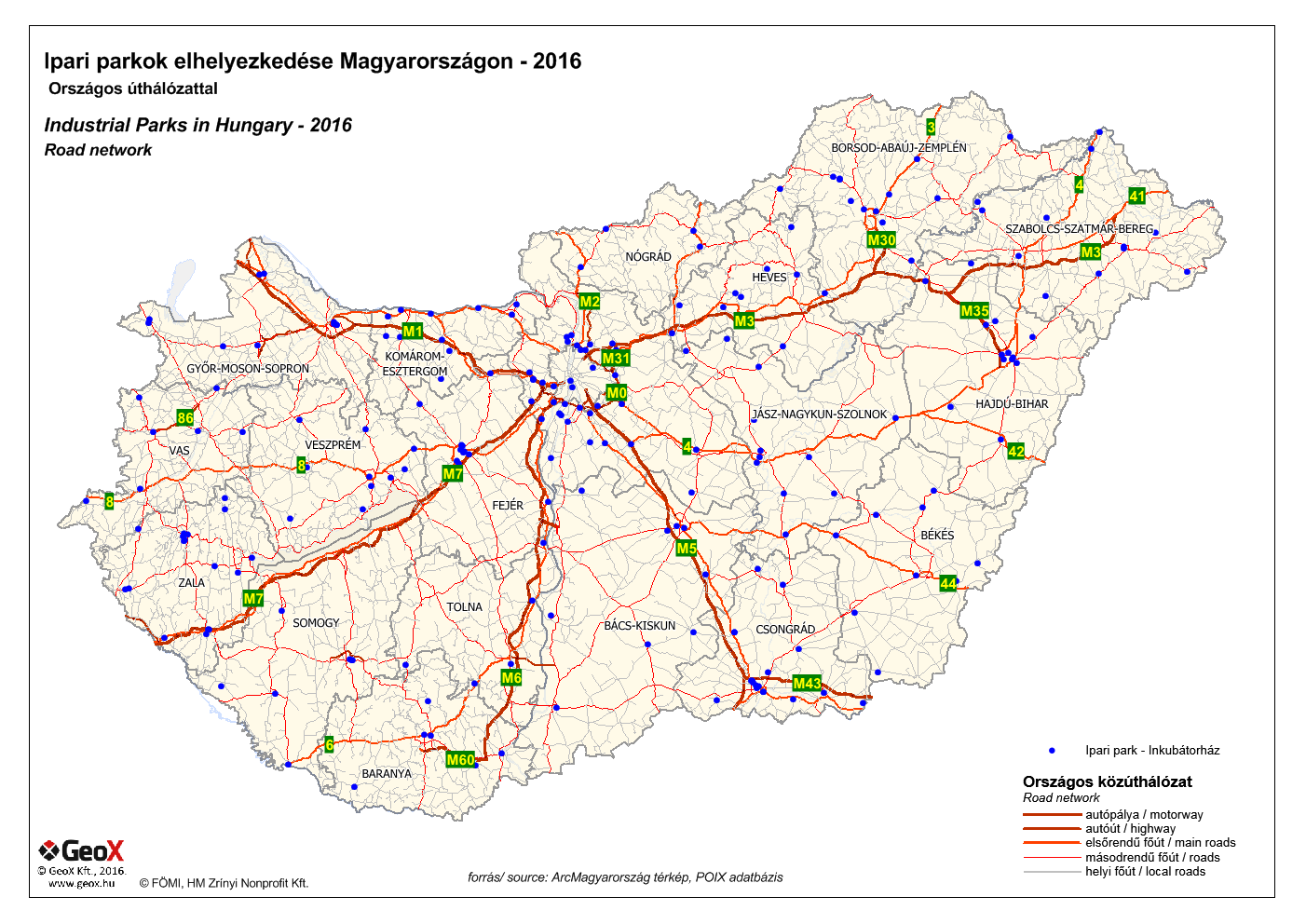 POIX database - Industrial zones in Hungary - 2016