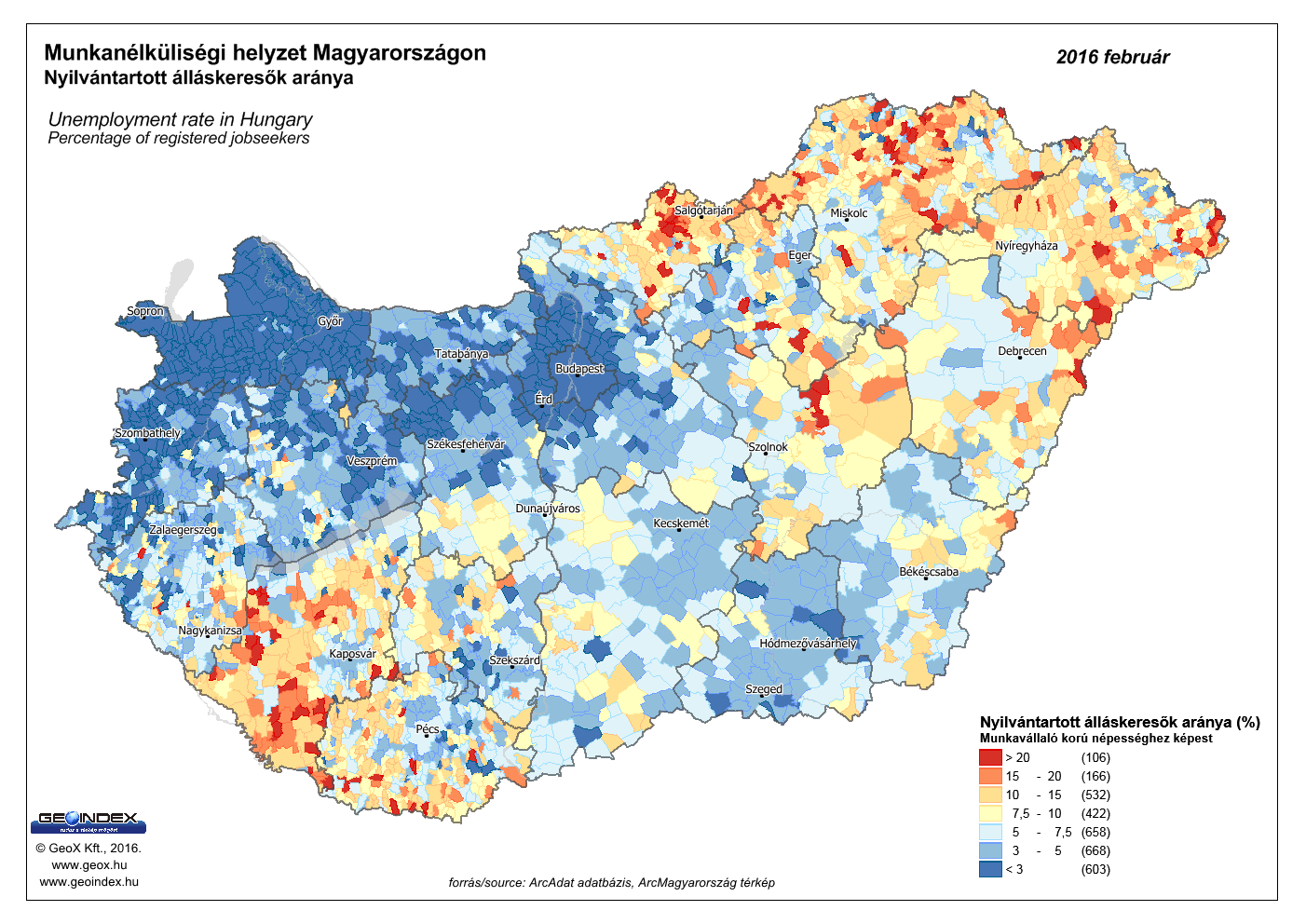 Permanent population in Hungarian settlements - 2016